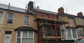 Residential terrace house scaffolding Cardiff